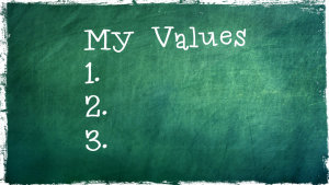 Chalk board - my values