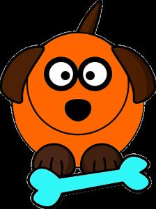 dog with bone orange